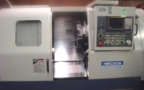 Hwacheon HI-ECHO 21HS CNC Lathe Turning Machines in our CNC Machine Shop in Dallas Fort Worth Texas TX